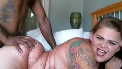 Interracialbondage: white woman ride black dick