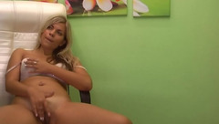 Analeigh masturbating in white chair