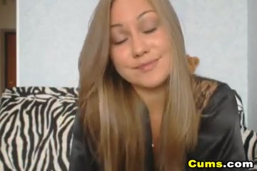 Long Blonde Haired Babe On Zebra Couch Gets It