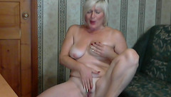 Older blonde Frezii1 masturbates in front of webcam