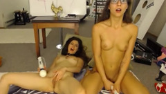 GinAndLuce: two brunettes masturbate and take a shower