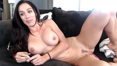 Naked milf Fitprincess lies on the black sofa
