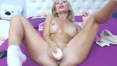 HottieBritney swallows rubber dick