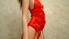 Funnysmartred in red lingerie