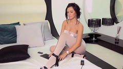 AlejandraScarlet in white bodystocking