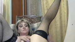 Older woman Jezafina plays with sex toys