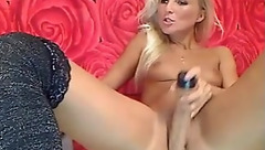 Sexy blonde Bailleys masturbating on the couch