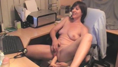 Chick is at the desk, fooling around