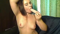 Elitegirl sucks rubber penis
