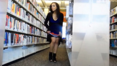 Naughty brunette HiddnPassions in library