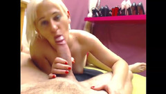 HornECouple: blonde licks head of cock