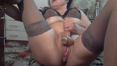 Cowberry5: grey stockings and dildo
