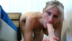 Passionate Miss_X_ sucks dildo with vibrator in the pussy