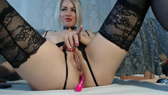 Webcam blonde RITA2112 in black stockings