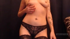 BeautyGaby posing in black stockings and panties