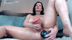 Naughtyelle - DP with huge dildos