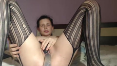 Passiongoddes69 in striped stockings