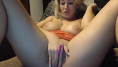 Busty housewife Slapbangmyass playing with sex toys