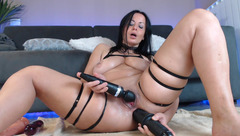 Naughtyelle playing with black sex toys