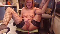 SexySilvie masturbates on a chair