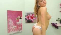 Playful blonde Nanchos dancing in front of webcam