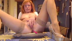 Horny mature SexySilvie with vibrator in the asshole