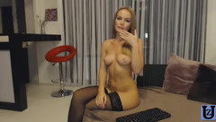 AndainA in black stockings play with rubber dick