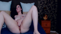 Stunning hot Anny Rous is undressing and passionately stroking cunt in front of the webcam