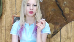 Sweet teen blonde Charlin X is having webcam sex chat and smoking