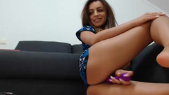 Lovely woman Rebbecasnowshoe play with her toy