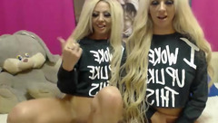 Adorable blonde twin sluts Sexytigress are watching webcam porn