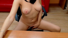 Stunning brunette Pady D is showing tits on webcam and stroking shaved pussy