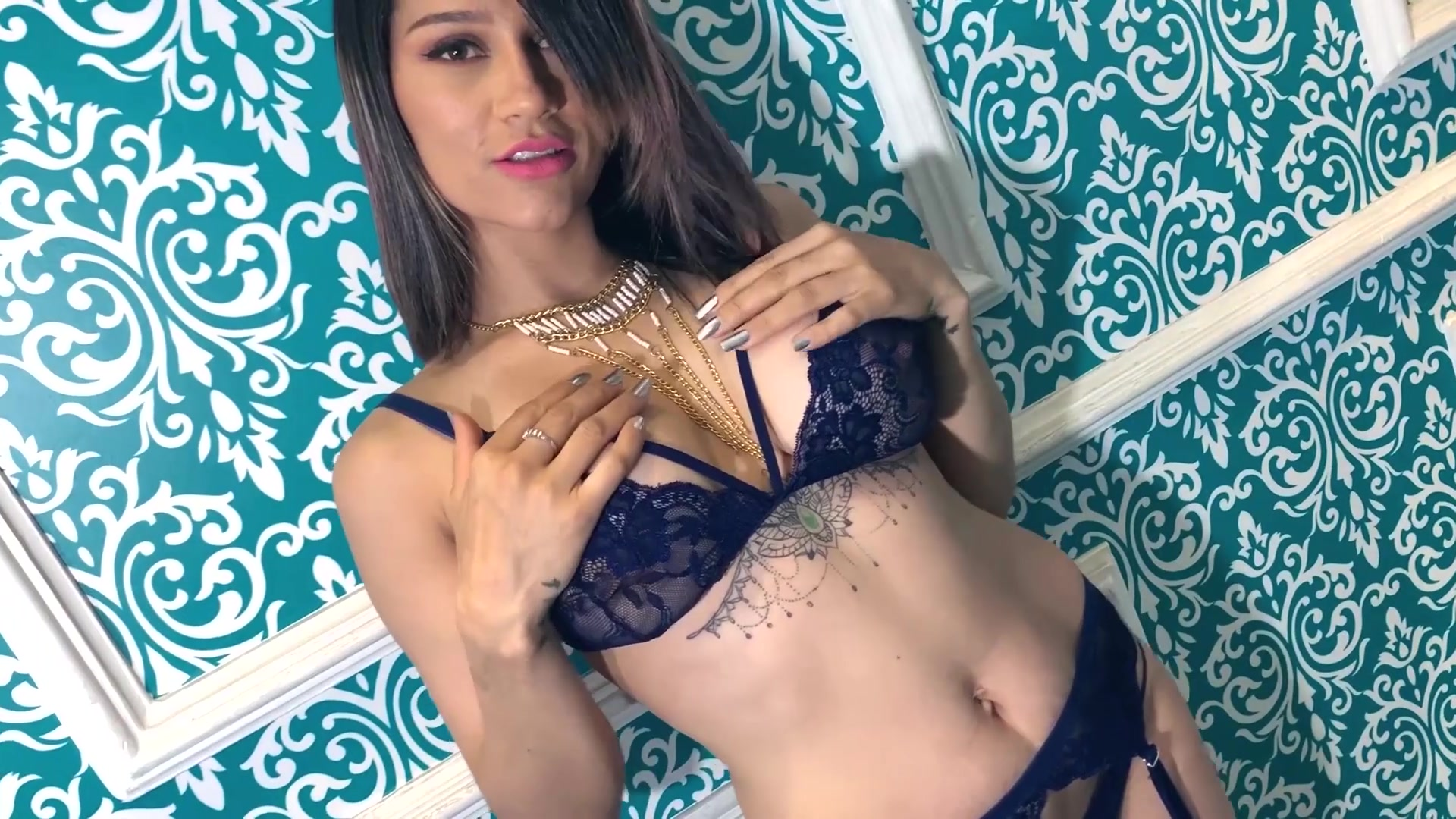 Incredibly sexy slender SusanaTorres is showing off her body in hot blue lace lingerie