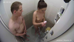 Skinny girl Katie is hotly fondling with Phil in shower
