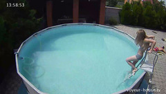 Slender sexy shaped young brunette Layla is having fan with boyfriend in the pool