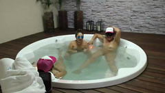 Three bitches are having fun in fancy Jacuzzi and showing boobs