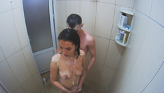 Beautiful young Silvia is washing up and brushing teeth in shower with Josh