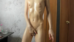 Skinny chick Yesonee fingering her cunt