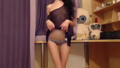Skinny slender shaped brunette AlishaX with glasses is having webcam porn live chat