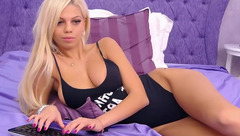 Impressive sexy blonde PrettyElly with big tits wearing hot bodysuit is having webcam chat