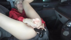 Skinny shaped young blonde Joobeelee is drilling ass and pussy with huge dildos in the car