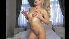 Blonde Carmenfalls is showing her beautiful small round boobies to the webcam