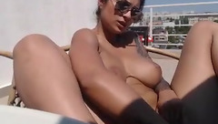 Stunning brunette BadassBitch_ with bubble butt is stroking big tits and masturbating with dildo dick