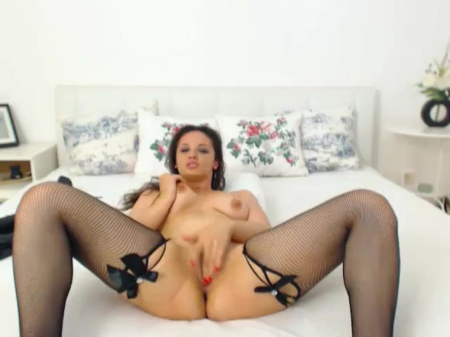 Precious girl is taking off her black sex lingerie and fondling cunt