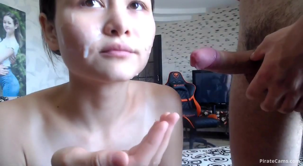 Pretty young brunette Richandalfa is having nasty cumshots jerked off on her face