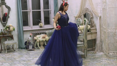 Young lady Miamedison are showing off in vintage dresses in front of the camera