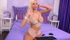 Impressive sexy shaped blonde PrettyElly is having webcam chat wearing hot underwear