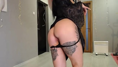Burning sexy chick Rinbel is posing in black lace peignoir and masturbating