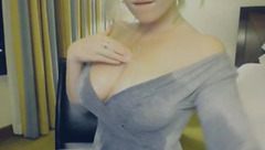 Beauty BleuReign in grey dress