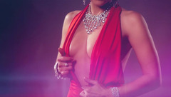 Hot brunette milf DelicateAubrey is excitingly posing in fancy red dress